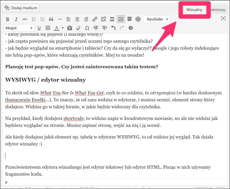 wizualny edytor wordpress